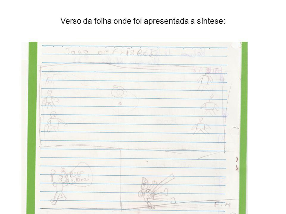 Verso da folha onde foi apresentada a síntese: