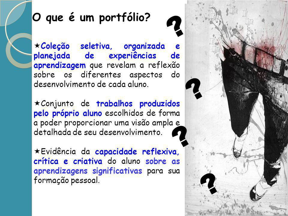 O que é um portfólio? Coleção seletiva, organizada e planejada de experiências de aprendizagem que revelam a reflexão sobre os diferentes aspectos do