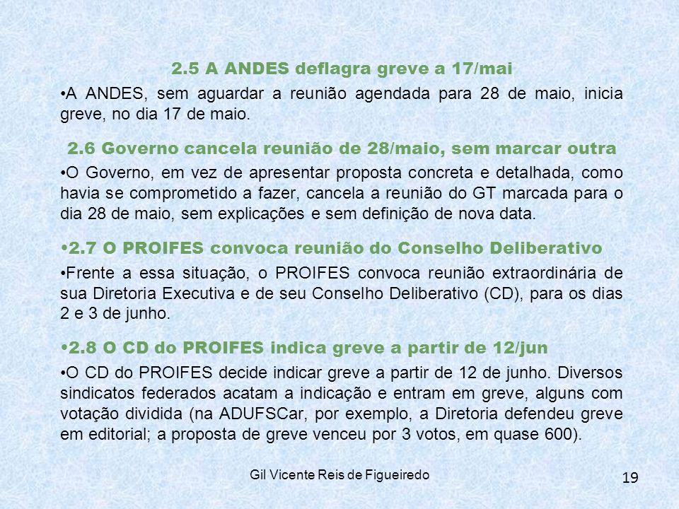 2.5 A ANDES deflagra greve a 17/mai A ANDES, sem aguardar a reunião agendada para 28 de maio, inicia greve, no dia 17 de maio.