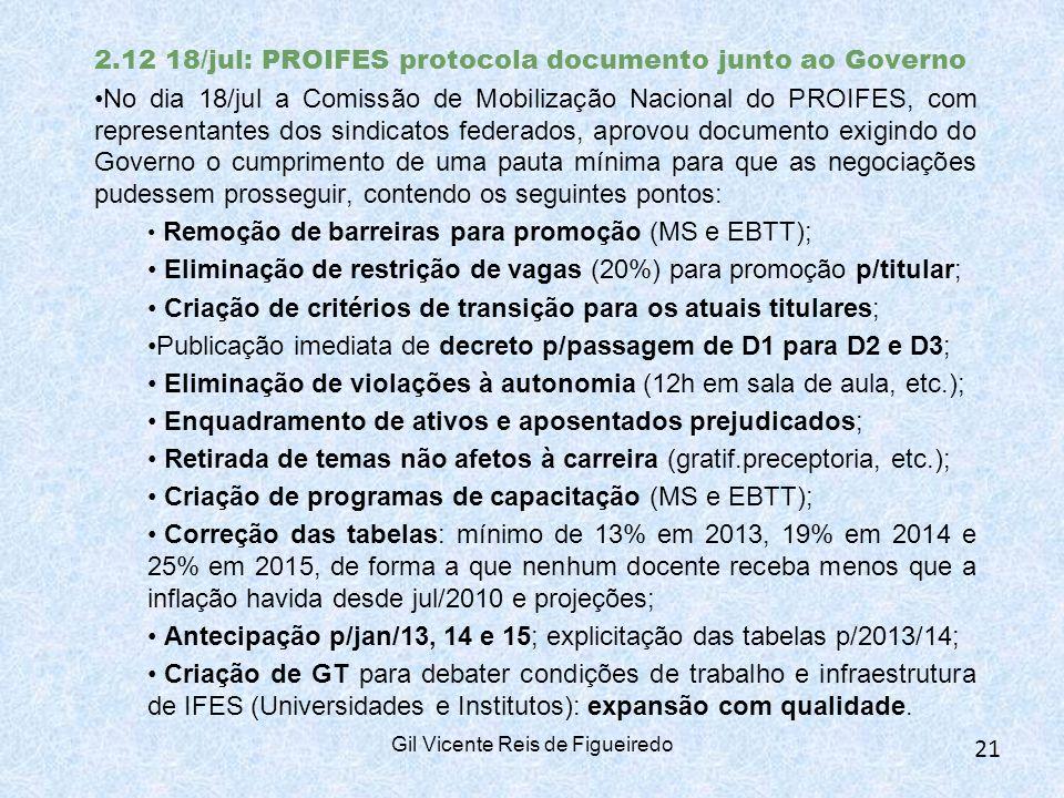 2.12 18/jul: PROIFES protocola documento junto ao Governo No dia 18/jul a Comissão de Mobilização Nacional do PROIFES, com representantes dos sindicatos federados, aprovou documento exigindo do Governo o cumprimento de uma pauta mínima para que as negociações pudessem prosseguir, contendo os seguintes pontos: Remoção de barreiras para promoção (MS e EBTT); Eliminação de restrição de vagas (20%) para promoção p/titular; Criação de critérios de transição para os atuais titulares; Publicação imediata de decreto p/passagem de D1 para D2 e D3; Eliminação de violações à autonomia (12h em sala de aula, etc.); Enquadramento de ativos e aposentados prejudicados; Retirada de temas não afetos à carreira (gratif.preceptoria, etc.); Criação de programas de capacitação (MS e EBTT); Correção das tabelas: mínimo de 13% em 2013, 19% em 2014 e 25% em 2015, de forma a que nenhum docente receba menos que a inflação havida desde jul/2010 e projeções; Antecipação p/jan/13, 14 e 15; explicitação das tabelas p/2013/14; Criação de GT para debater condições de trabalho e infraestrutura de IFES (Universidades e Institutos): expansão com qualidade.