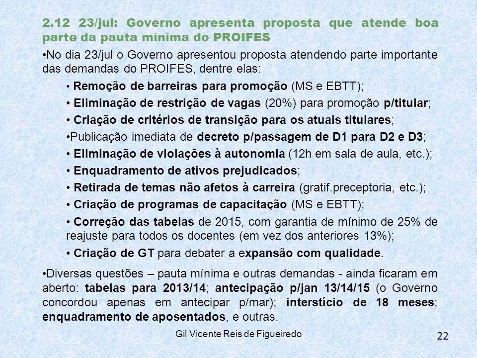 2.12 23/jul: Governo apresenta proposta que atende boa parte da pauta mínima do PROIFES No dia 23/jul o Governo apresentou proposta atendendo parte importante das demandas do PROIFES, dentre elas: Remoção de barreiras para promoção (MS e EBTT); Eliminação de restrição de vagas (20%) para promoção p/titular; Criação de critérios de transição para os atuais titulares; Publicação imediata de decreto p/passagem de D1 para D2 e D3; Eliminação de violações à autonomia (12h em sala de aula, etc.); Enquadramento de ativos prejudicados; Retirada de temas não afetos à carreira (gratif.preceptoria, etc.); Criação de programas de capacitação (MS e EBTT); Correção das tabelas de 2015, com garantia de mínimo de 25% de reajuste para todos os docentes (em vez dos anteriores 13%); Criação de GT para debater a expansão com qualidade.