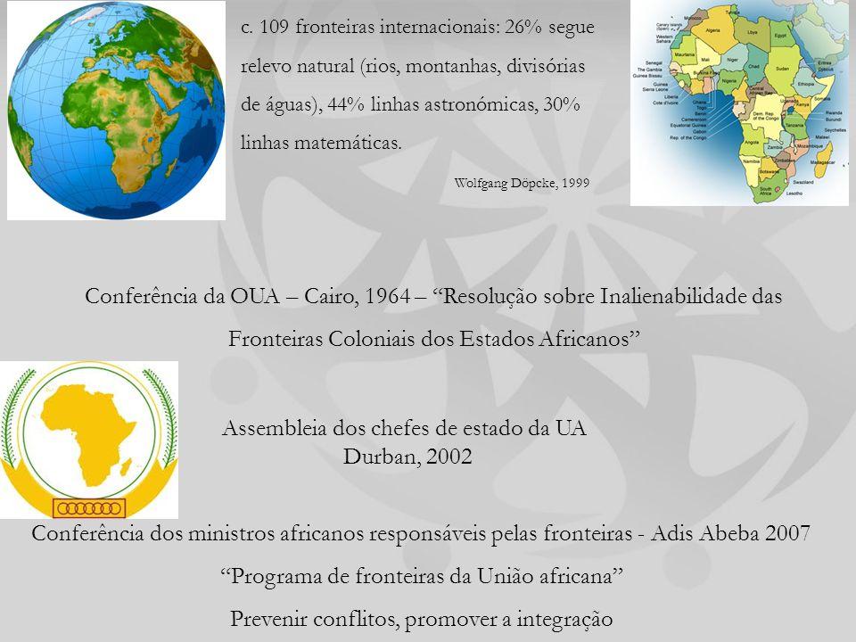 Conferência da OUA – Cairo, 1964 – Resolução sobre Inalienabilidade das Fronteiras Coloniais dos Estados Africanos Conferência dos ministros africanos responsáveis pelas fronteiras - Adis Abeba 2007 Programa de fronteiras da União africana Prevenir conflitos, promover a integração Assembleia dos chefes de estado da UA Durban, 2002 c.