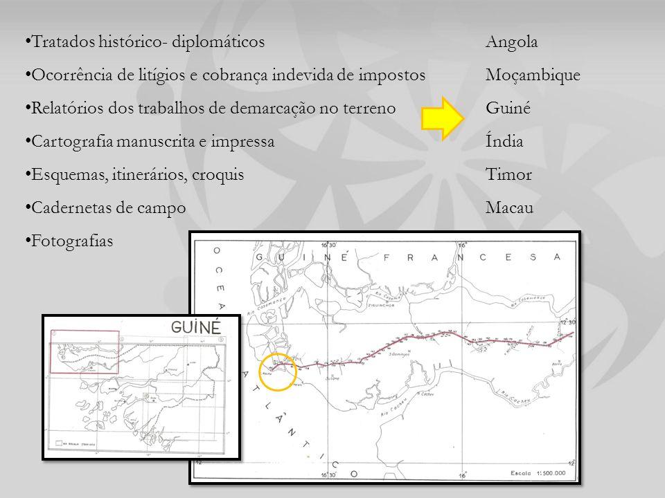 Tratados histórico- diplomáticos Ocorrência de litígios e cobrança indevida de impostos Relatórios dos trabalhos de demarcação no terreno Cartografia manuscrita e impressa Esquemas, itinerários, croquis Cadernetas de campo Fotografias Angola Moçambique Guiné Índia Timor Macau