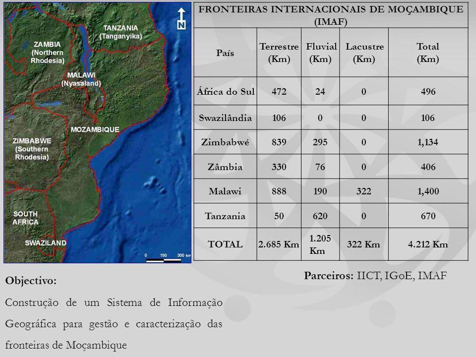 FRONTEIRAS INTERNACIONAIS DE MOÇAMBIQUE (IMAF) País Terrestre (Km) Fluvial (Km) Lacustre (Km) Total (Km) África do Sul472240496 Swazilândia10600 Zimbabwé83929501,134 Zâmbia330760406 Malawi8881903221,400 Tanzania506200670 TOTAL2.685 Km 1.205 Km 322 Km4.212 Km Objectivo: Construção de um Sistema de Informação Geográfica para gestão e caracterização das fronteiras de Moçambique Parceiros: IICT, IGoE, IMAF
