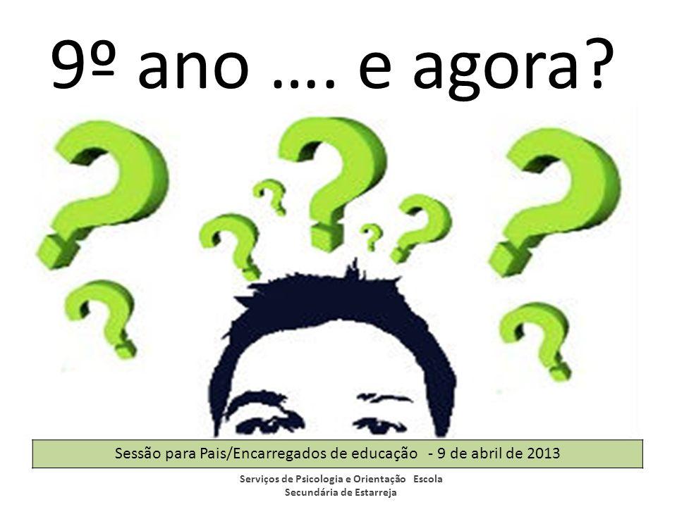 9º ano …. e agora? Serviços de Psicologia e Orientação Escola Secundária de Estarreja Sessão para Pais/Encarregados de educação - 9 de abril de 2013