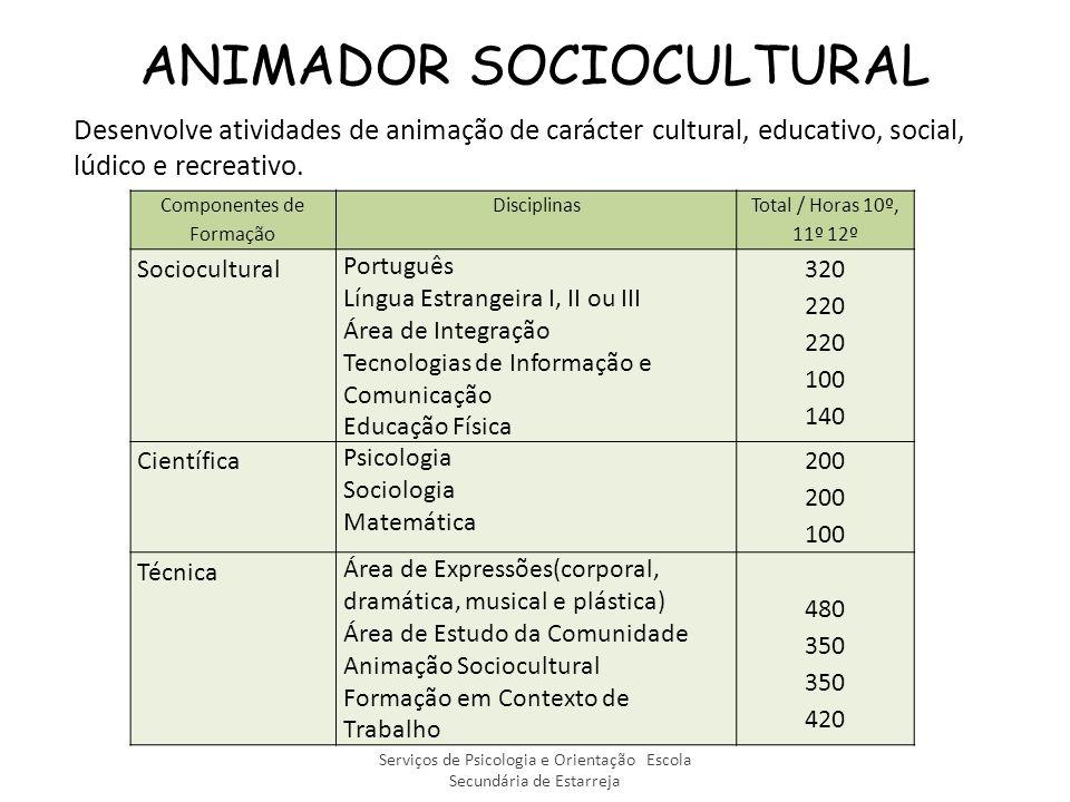 ANIMADOR SOCIOCULTURAL Desenvolve atividades de animação de carácter cultural, educativo, social, lúdico e recreativo.