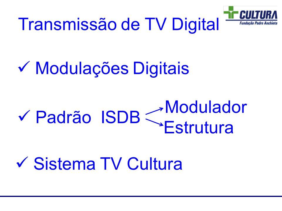 A banda de transmissão consiste de 13 segmentos OFDMs Transmissão Hierárquica.