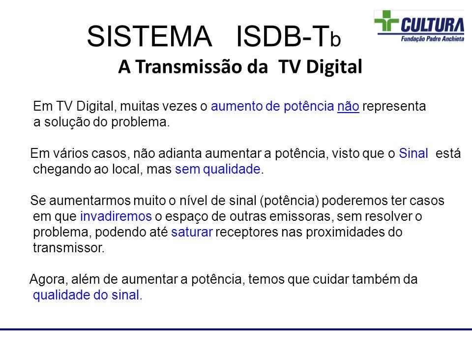 A Transmissão da TV Digital Em TV Digital, muitas vezes o aumento de potência não representa a solução do problema. Em vários casos, não adianta aumen