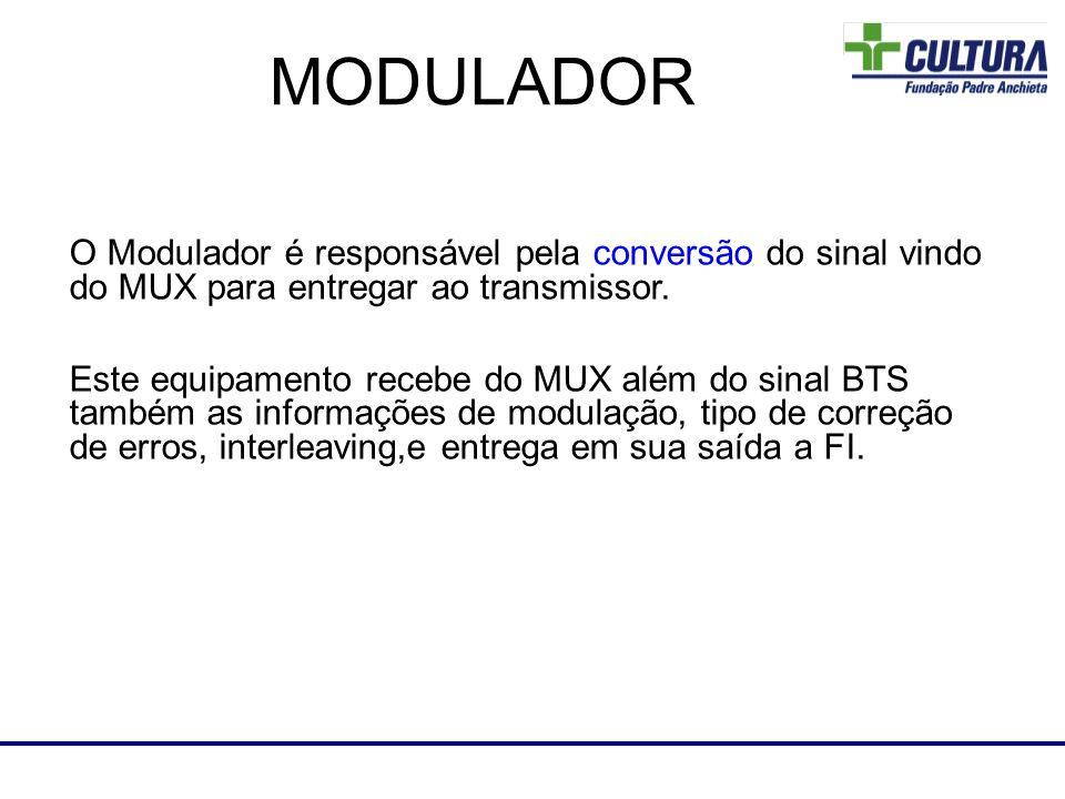 O Modulador é responsável pela conversão do sinal vindo do MUX para entregar ao transmissor. Este equipamento recebe do MUX além do sinal BTS também a