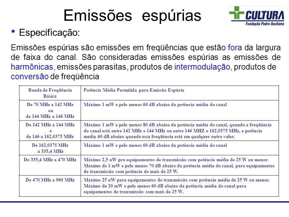 Laboratório de RF Emissões espúrias são emissões em freqüências que estão fora da largura de faixa do canal. São consideradas emissões espúrias as emi