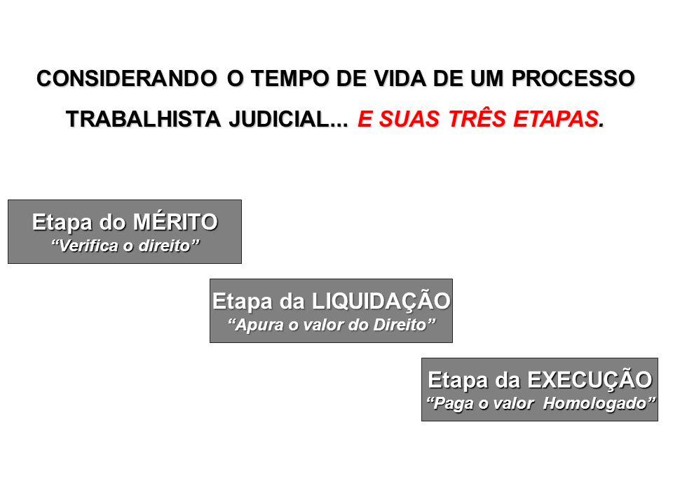 Etapa do MÉRITO Verifica o direito Etapa da LIQUIDAÇÃO Apura o valor do Direito Etapa da EXECUÇÃO Paga o valor Homologado CONSIDERANDO O TEMPO DE VIDA