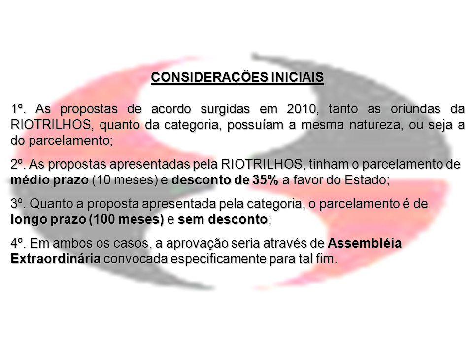CONSIDERAÇÕES INICIAIS 1º. As propostas de acordo surgidas em 2010, tanto as oriundas da RIOTRILHOS, quanto da categoria, possuíam a mesma natureza, o