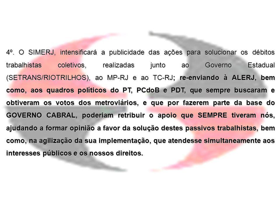 4º. O SIMERJ, intensificará a publicidade das ações para solucionar os débitos trabalhistas coletivos, realizadas junto ao Governo Estadual (SETRANS/R