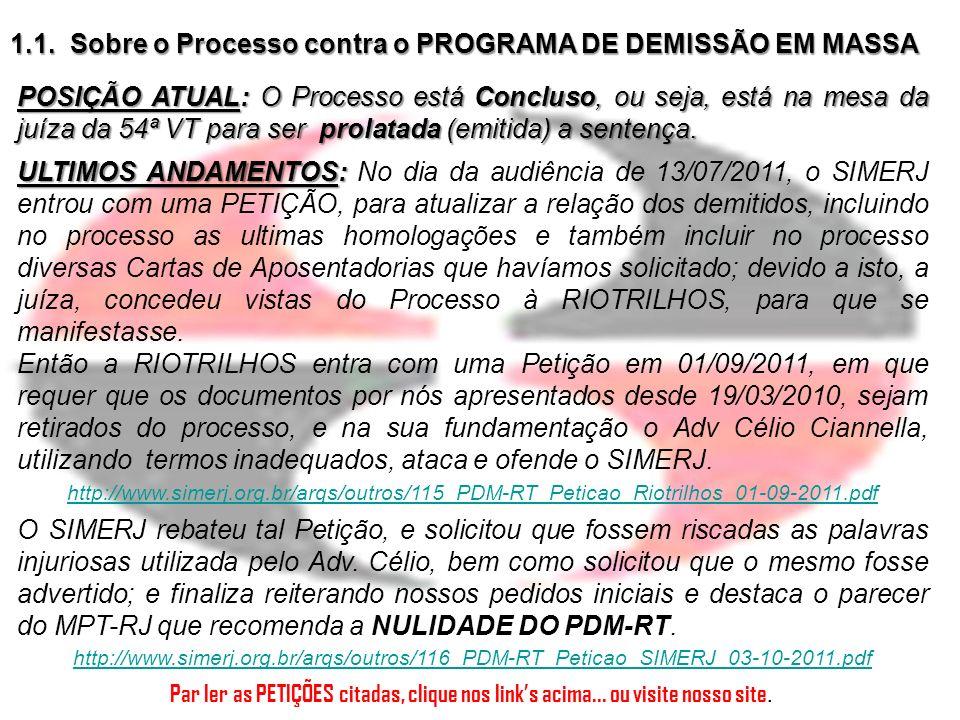 1.2.Sobre a Inicial do ex-Advogado do sindicato contra o SIMERJ O ex-funcionário do SIMERJ, o Adv.