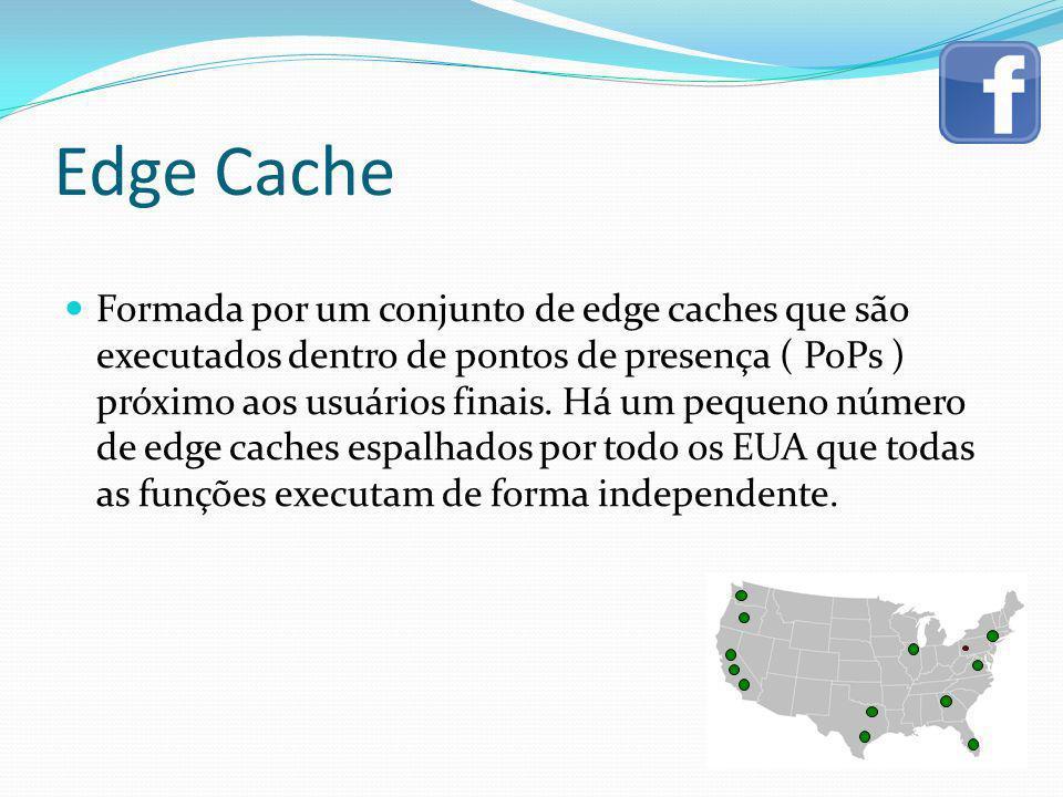Edge Cache Formada por um conjunto de edge caches que são executados dentro de pontos de presença ( PoPs ) próximo aos usuários finais. Há um pequeno