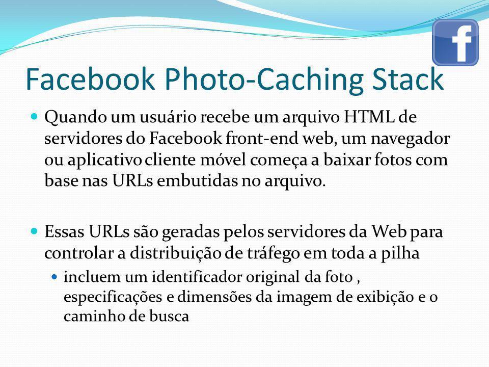 Facebook Photo-Caching Stack Quando um usuário recebe um arquivo HTML de servidores do Facebook front-end web, um navegador ou aplicativo cliente móve