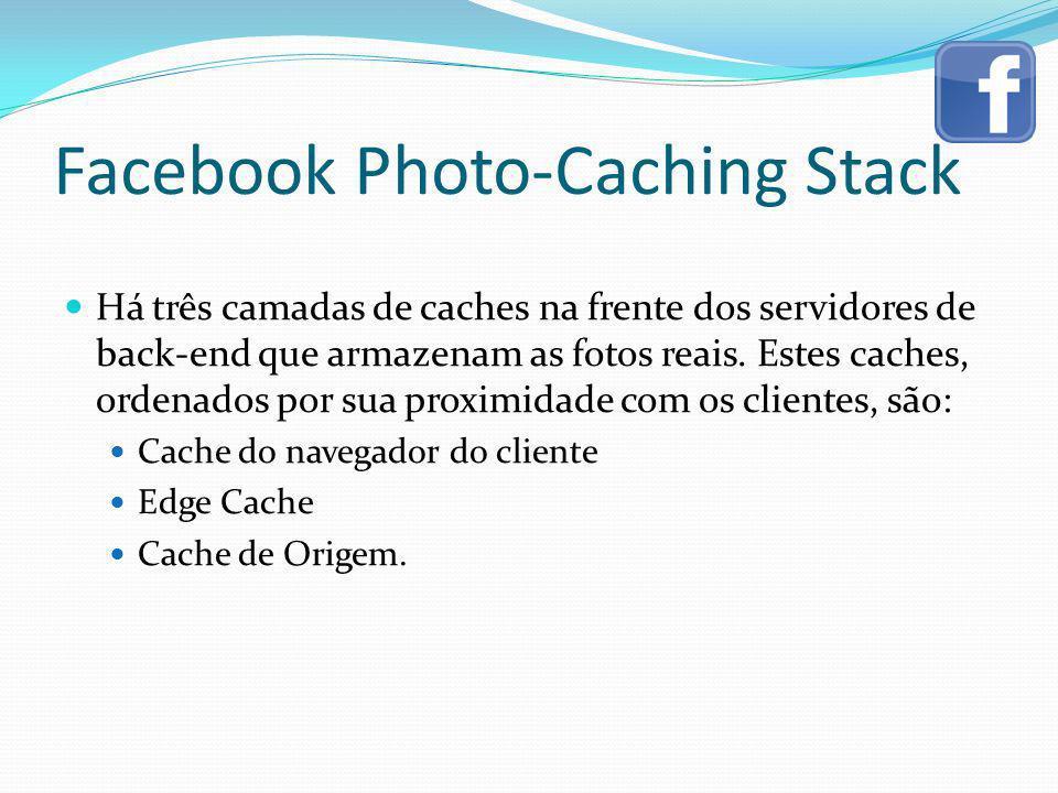 Facebook Photo-Caching Stack Há três camadas de caches na frente dos servidores de back-end que armazenam as fotos reais. Estes caches, ordenados por