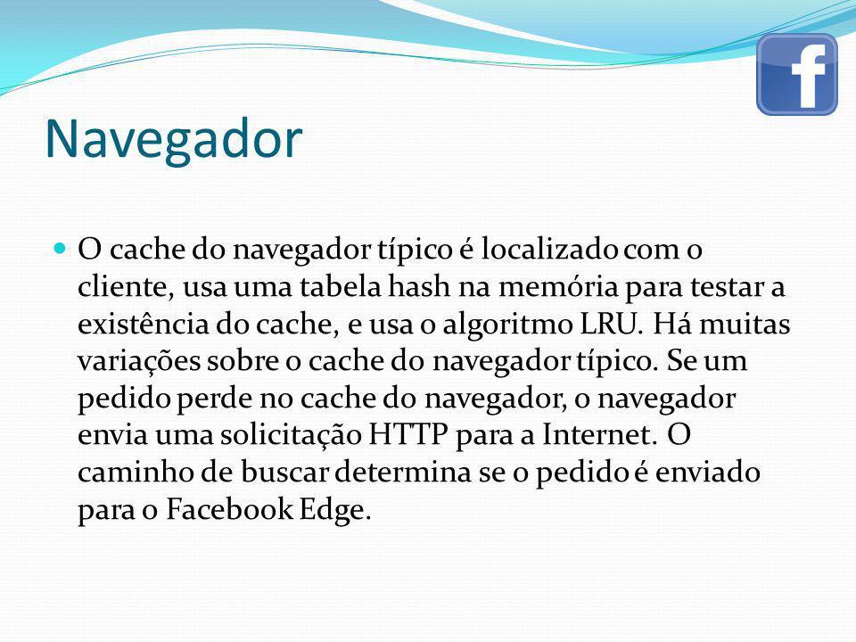 Navegador O cache do navegador típico é localizado com o cliente, usa uma tabela hash na memória para testar a existência do cache, e usa o algoritmo