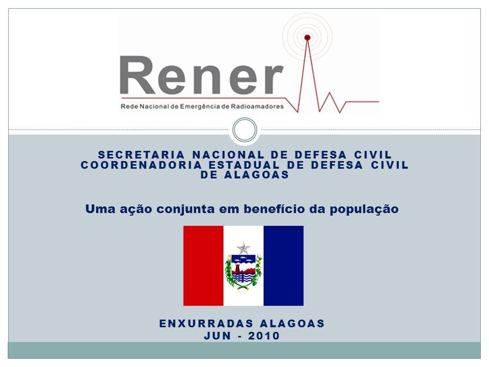 SECRETARIA NACIONAL DE DEFESA CIVIL COORDENADORIA ESTADUAL DE DEFESA CIVIL DE ALAGOAS ENXURRADAS ALAGOAS JUN - 2010 Uma ação conjunta em benefício da