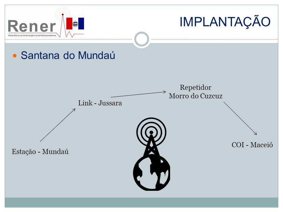 IMPLANTAÇÃO Santana do Mundaú Estação - Mundaú Link - Jussara Repetidor Morro do Cuzcuz COI - Maceió