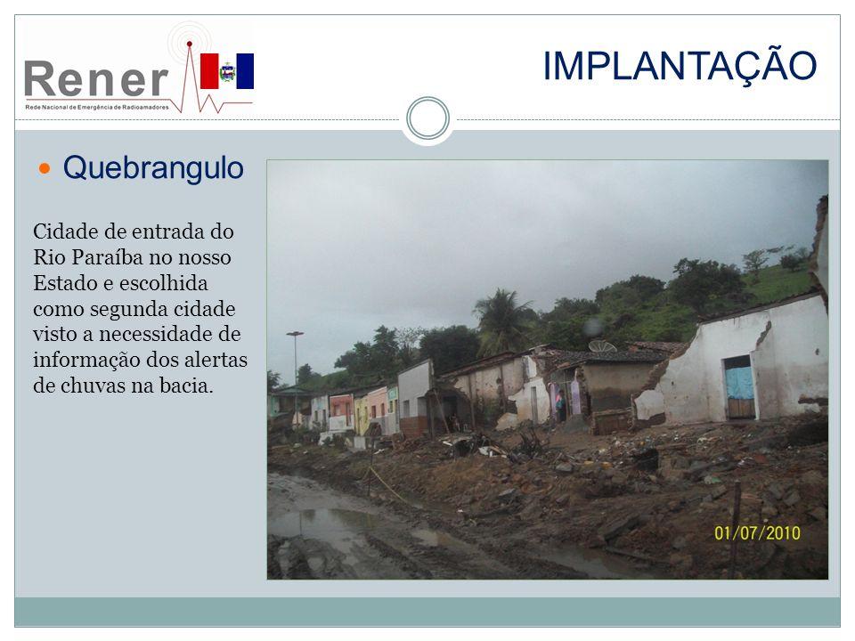 IMPLANTAÇÃO Quebrangulo Cidade de entrada do Rio Paraíba no nosso Estado e escolhida como segunda cidade visto a necessidade de informação dos alertas