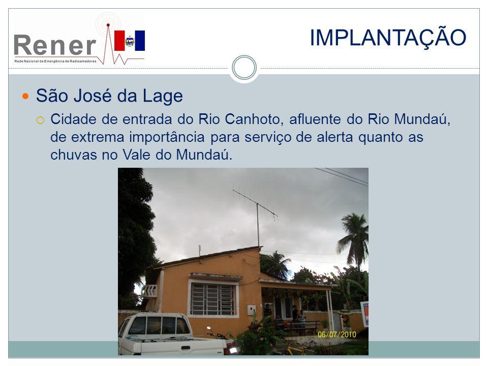 IMPLANTAÇÃO São José da Lage Cidade de entrada do Rio Canhoto, afluente do Rio Mundaú, de extrema importância para serviço de alerta quanto as chuvas