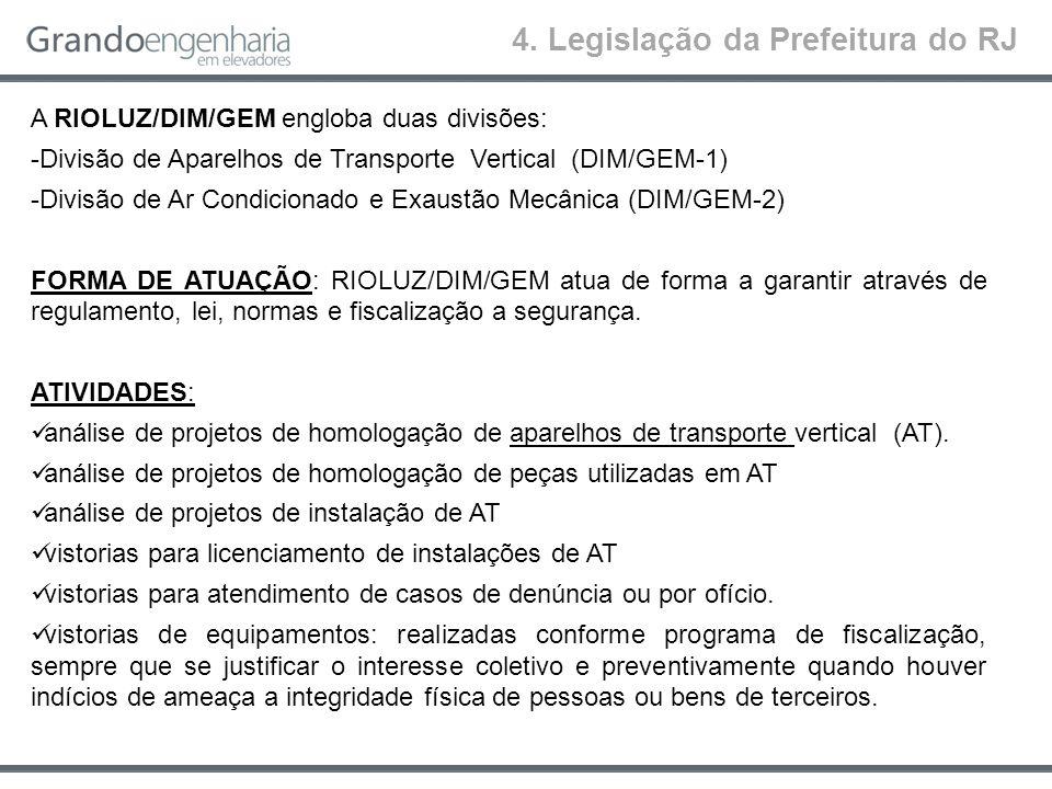 4. Legislação da Prefeitura do RJ A RIOLUZ/DIM/GEM engloba duas divisões: -Divisão de Aparelhos de Transporte Vertical (DIM/GEM-1) -Divisão de Ar Cond