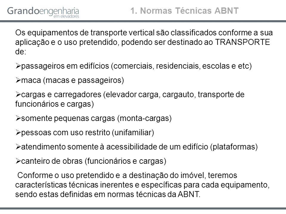 Os equipamentos de transporte vertical são classificados conforme a sua aplicação e o uso pretendido, podendo ser destinado ao TRANSPORTE de: passagei
