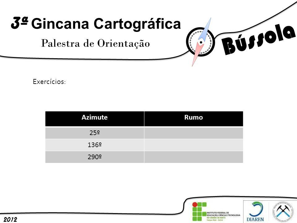 3ª Gincana Cartográfica Palestra de Orientação 2012 Exercícios: AzimuteRumo 25º 136º 290º