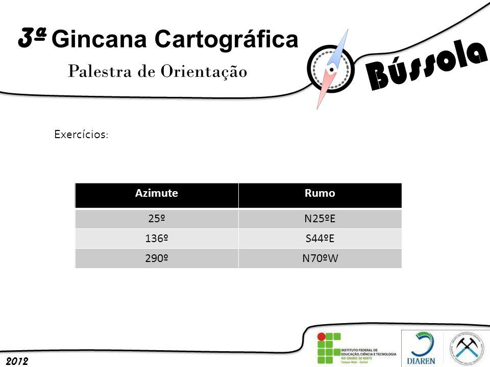 3ª Gincana Cartográfica Palestra de Orientação 2012 Exercícios: AzimuteRumo 25º 136º 290º AzimuteRumo 25ºN25ºE 136ºS44ºE 290ºN70ºW