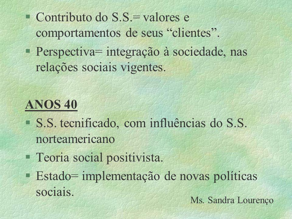 §Contributo do S.S.= valores e comportamentos de seus clientes. §Perspectiva= integração à sociedade, nas relações sociais vigentes. ANOS 40 §S.S. tec
