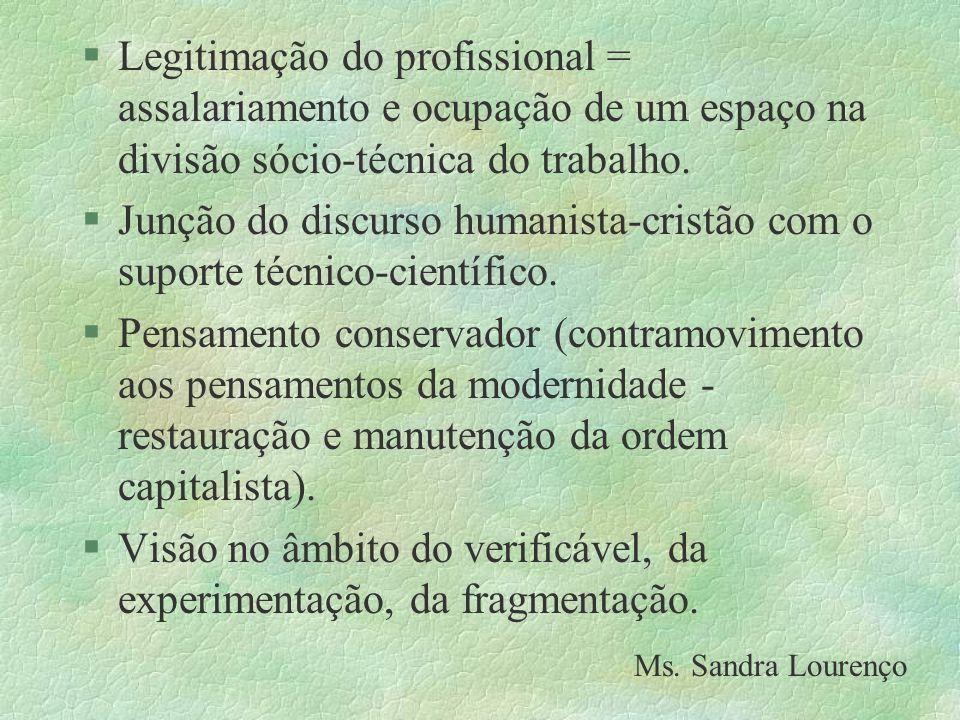 §Legitimação do profissional = assalariamento e ocupação de um espaço na divisão sócio-técnica do trabalho. §Junção do discurso humanista-cristão com