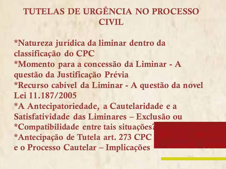 TUTELAS DE URGÊNCIA NO PROCESSO CIVIL *Natureza jurídica da liminar dentro da classificação do CPC *Momento para a concessão da Liminar - A questão da