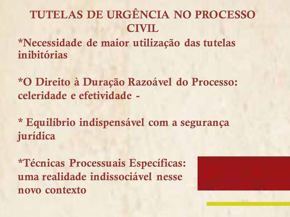 TUTELAS DE URGÊNCIA NO PROCESSO CIVIL *Necessidade de maior utilização das tutelas inibitórias *O Direito à Duração Razoável do Processo: celeridade e