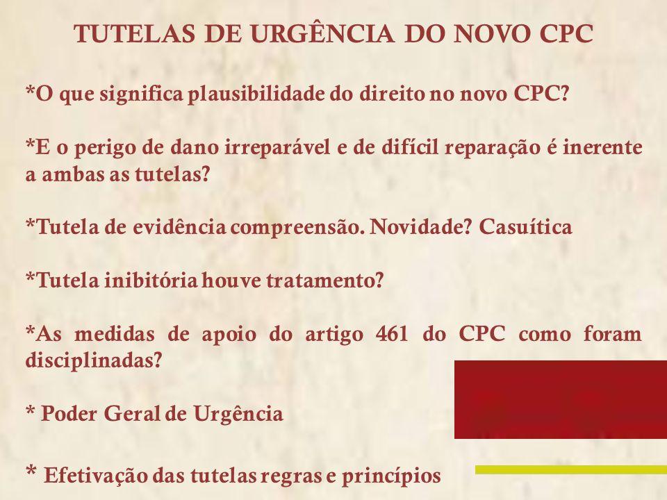 TUTELAS DE URGÊNCIA DO NOVO CPC *O que significa plausibilidade do direito no novo CPC? *E o perigo de dano irreparável e de difícil reparação é inere