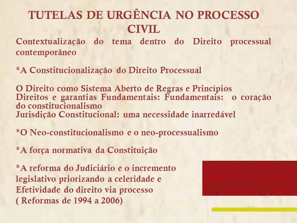 TUTELAS DE URGÊNCIA NO PROCESSO CIVIL Contextualização do tema dentro do Direito processual contemporâneo *A Constitucionalização do Direito Processua