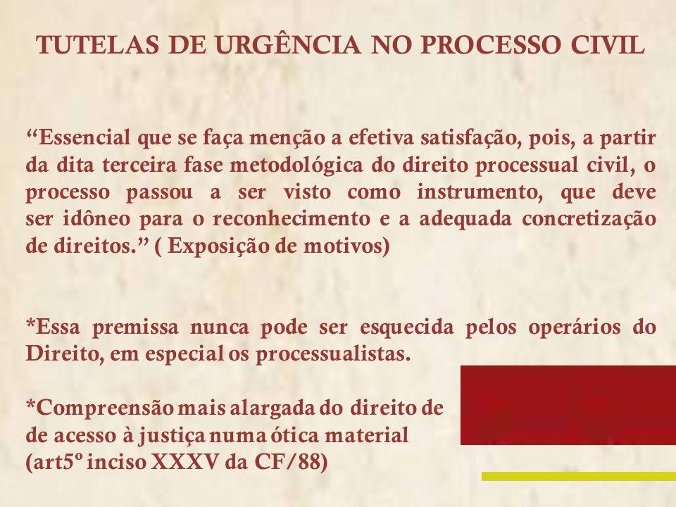 TUTELAS DE URGÊNCIA NO PROCESSO CIVIL Essencial que se faça menção a efetiva satisfação, pois, a partir da dita terceira fase metodológica do direito