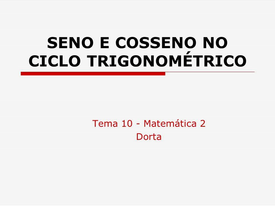 SENO E COSSENO NO CICLO TRIGONOMÉTRICO Tema 10 - Matemática 2 Dorta