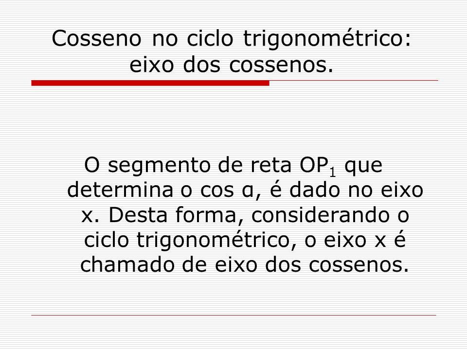 Cosseno no ciclo trigonométrico: eixo dos cossenos. O segmento de reta OP 1 que determina o cos α, é dado no eixo x. Desta forma, considerando o ciclo