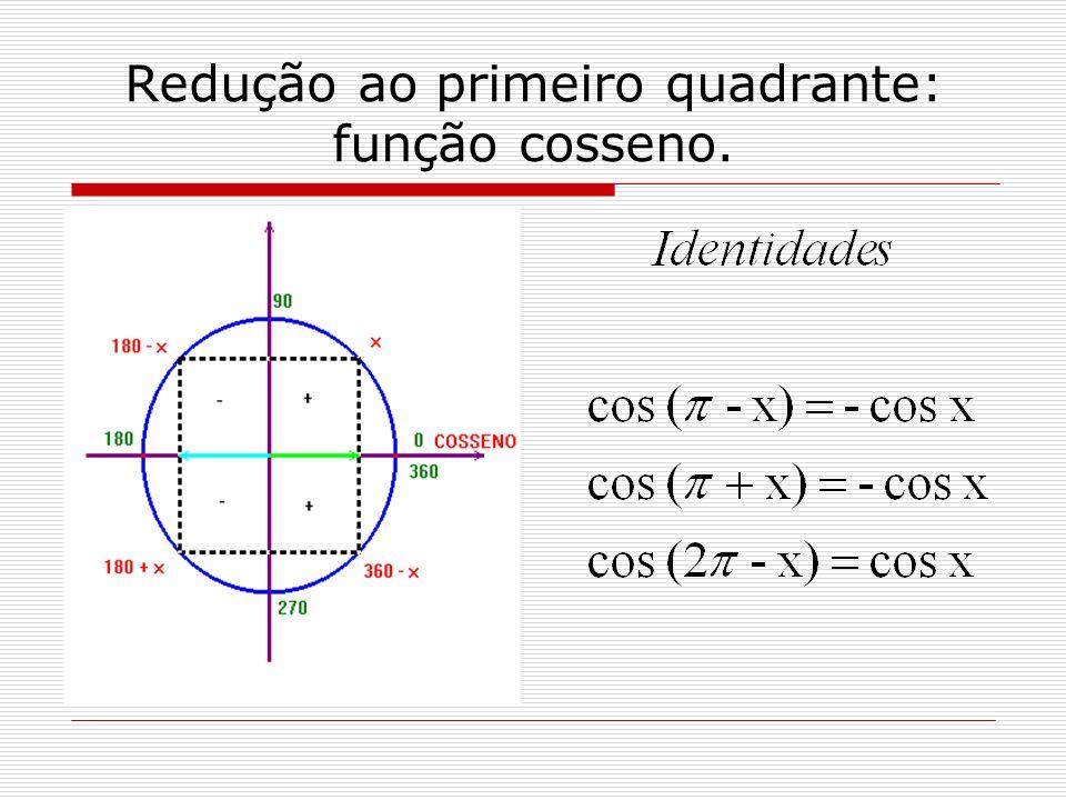 Redução ao primeiro quadrante: função cosseno.
