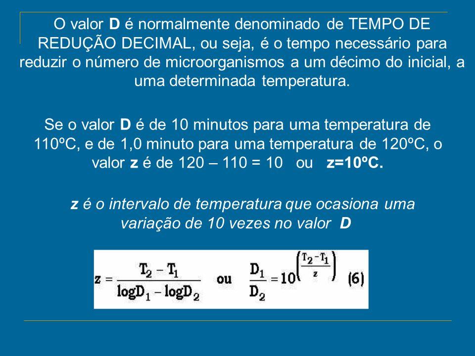 O valor D é normalmente denominado de TEMPO DE REDUÇÃO DECIMAL, ou seja, é o tempo necessário para reduzir o número de microorganismos a um décimo do