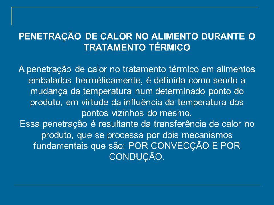 PENETRAÇÃO DE CALOR NO ALIMENTO DURANTE O TRATAMENTO TÉRMICO A penetração de calor no tratamento térmico em alimentos embalados herméticamente, é defi