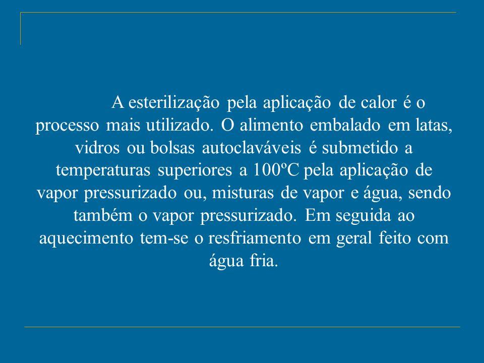 A esterilização pela aplicação de calor é o processo mais utilizado. O alimento embalado em latas, vidros ou bolsas autoclaváveis é submetido a temper