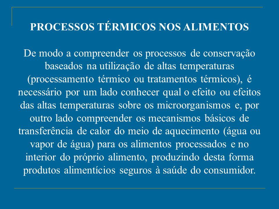 PROCESSOS TÉRMICOS NOS ALIMENTOS De modo a compreender os processos de conservação baseados na utilização de altas temperaturas (processamento térmico