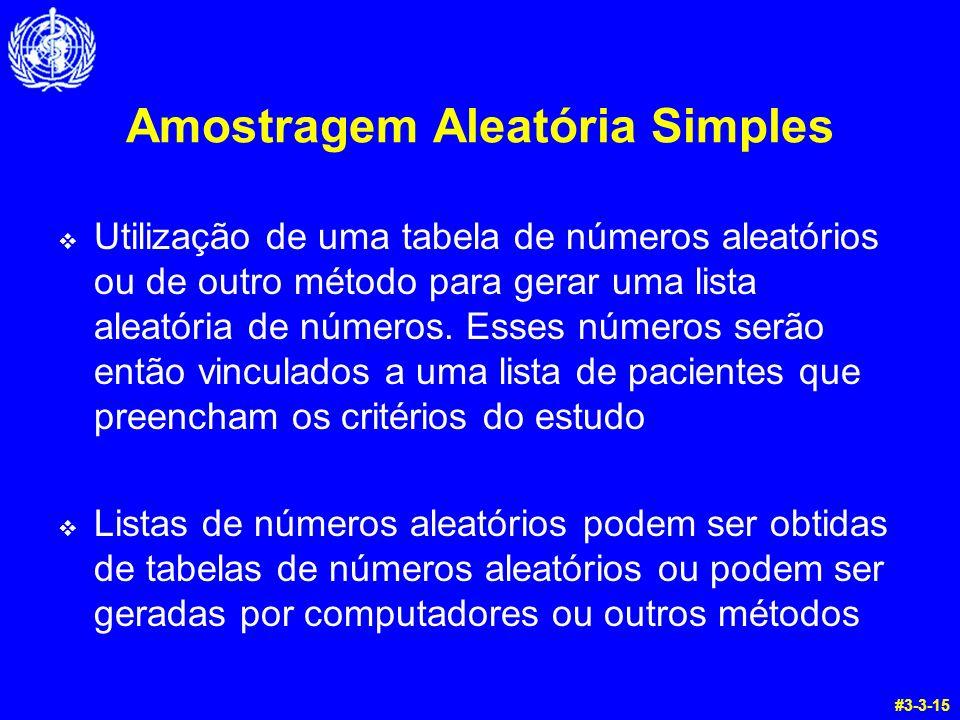 Amostragem Aleatória Simples Utilização de uma tabela de números aleatórios ou de outro método para gerar uma lista aleatória de números. Esses número