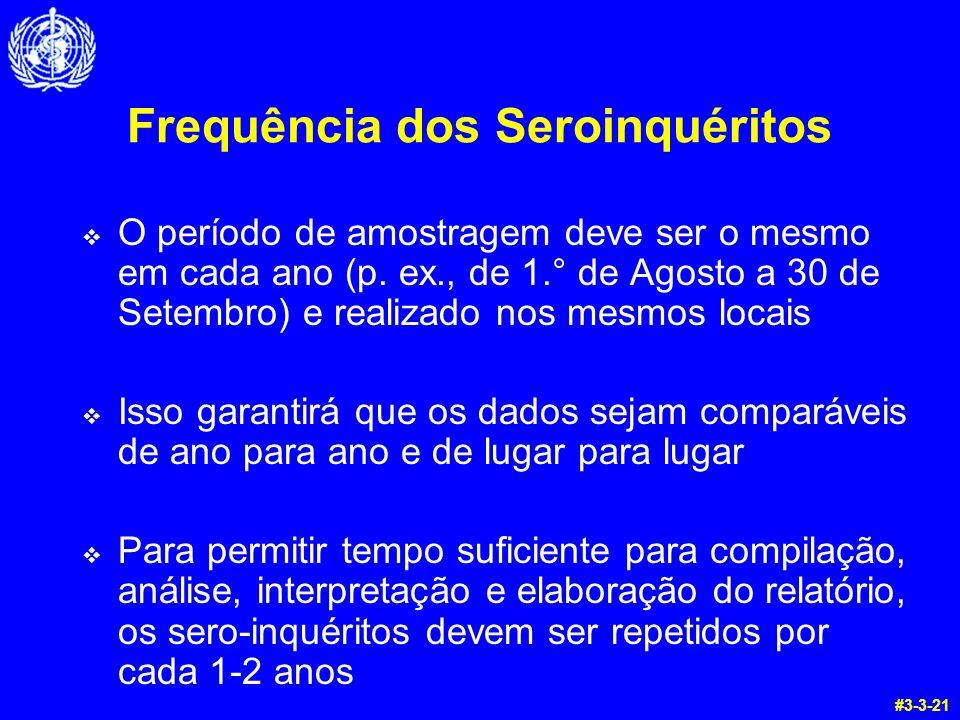 Frequência dos Seroinquéritos O período de amostragem deve ser o mesmo em cada ano (p. ex., de 1.° de Agosto a 30 de Setembro) e realizado nos mesmos