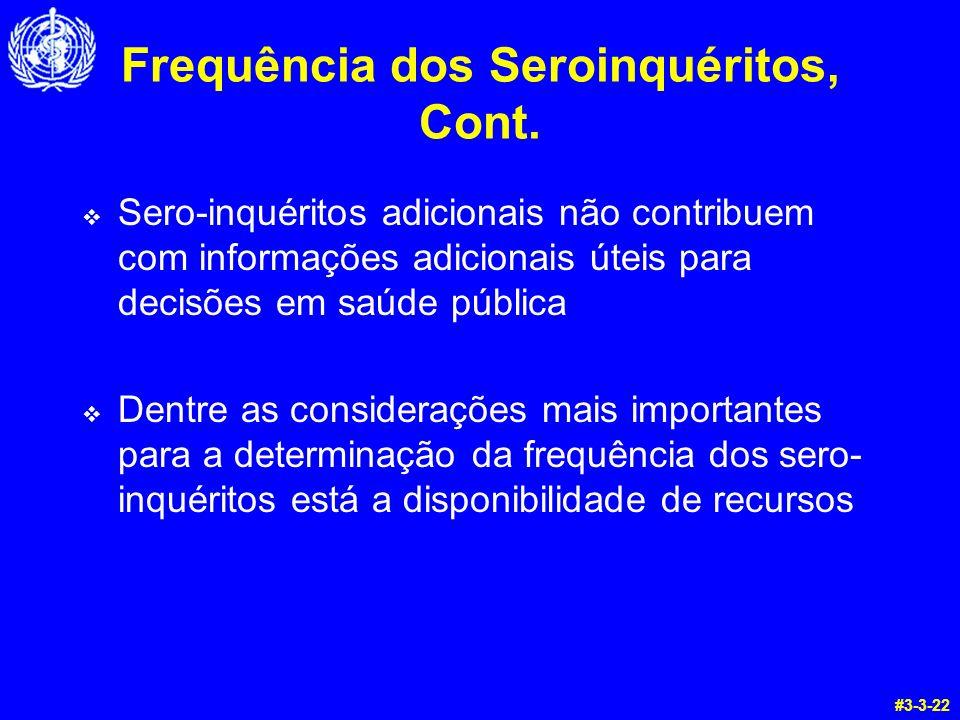 Frequência dos Seroinquéritos, Cont. Sero-inquéritos adicionais não contribuem com informações adicionais úteis para decisões em saúde pública Dentre