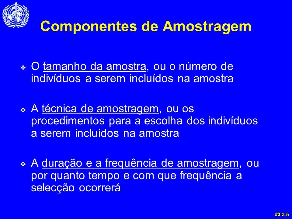 Componentes de Amostragem O tamanho da amostra, ou o número de indivíduos a serem incluídos na amostra A técnica de amostragem, ou os procedimentos pa