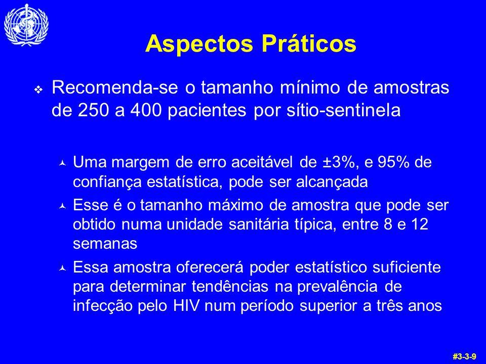 Aspectos Práticos Recomenda-se o tamanho mínimo de amostras de 250 a 400 pacientes por sítio-sentinela © Uma margem de erro aceitável de ±3%, e 95% de