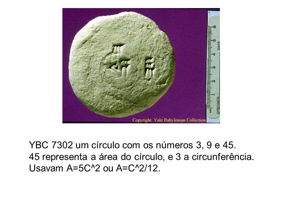 YBC 7302 um círculo com os números 3, 9 e 45. 45 representa a área do círculo, e 3 a circunferência. Usavam A=5C^2 ou A=C^2/12.